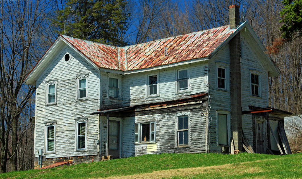 A dilapidated and vacant house
